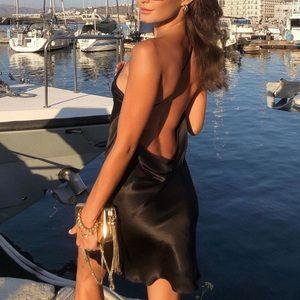 Draped satin effect slip dress with sexy back